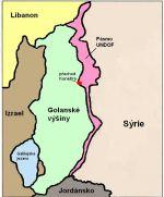 Mapa Golanských výšin