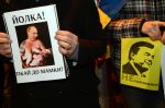 Protest před ukrajinskou ambasádou v Praze