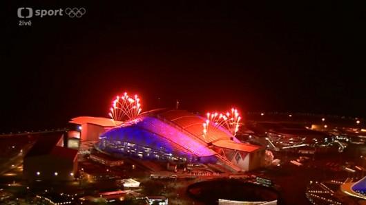 Ohňostroj nad stadionem Fišt