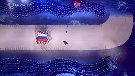 Část ruské výpravy během zakončení ZOH 2014